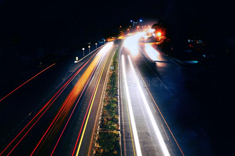 Long exposure photography of traffic in Kerala. Long exposure photograph of evening traffic in palakkad, India royalty free stock image
