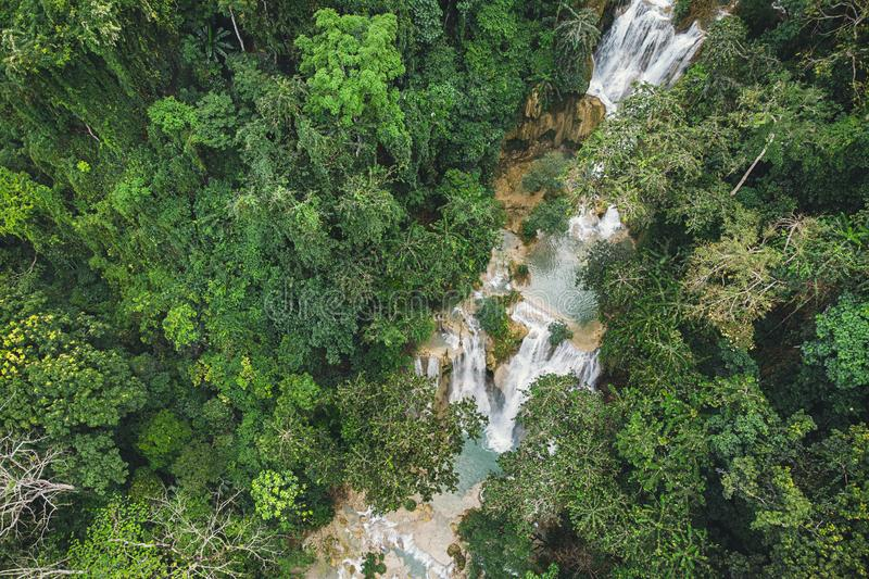 Long Exposure photography of Tad Kuang Si waterfall, Lungprabang, Lao. Beautiful photo of exotic Asian landscape. photo from the stock photography