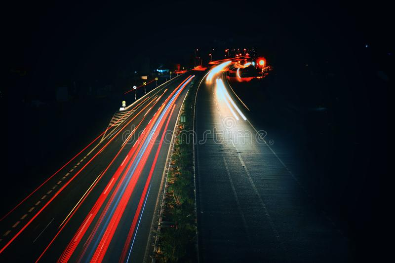 Long exposure photography of traffic royalty free stock images