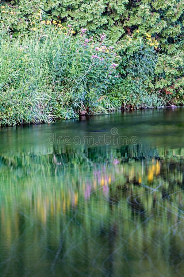 Long Exposure Reflections In The Credit River stock images