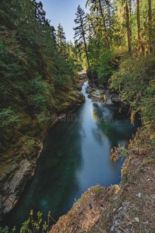 Long Exposure river in Vancouver Island near Victoria, Canada. Waterfall with rier in Vancouver Island near Victoria, Canada. Photo taken in Canada stock photography
