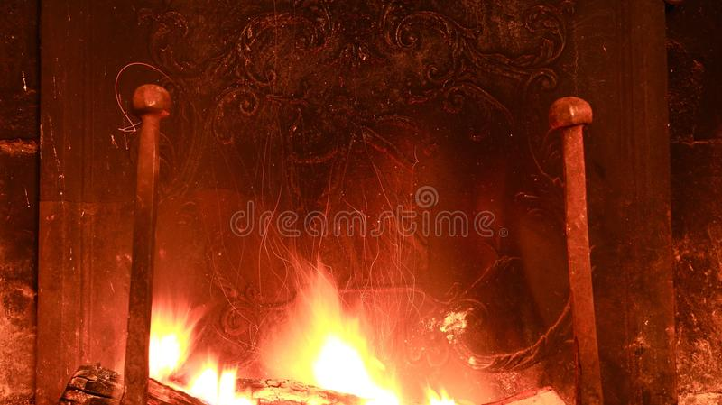 Long exposure of roaring fire stock images