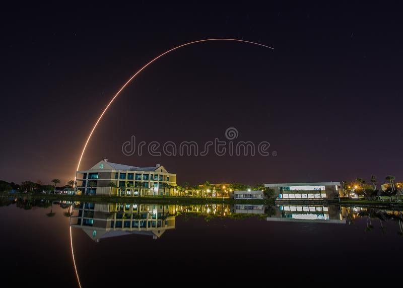 Rocket launch at Cape Canaveral seen from Eastern Florida state college. A long exposure of a rocket launch at Cape Canaveral seen from the Eastern Florida State royalty free stock photography