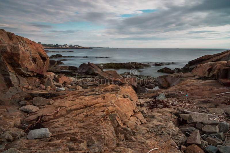 Long exposure of rocky New England coastline royalty free stock photos