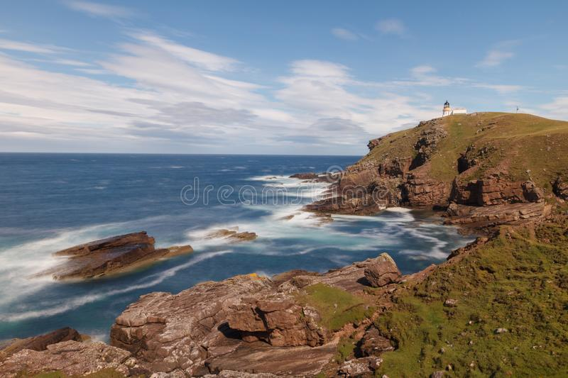 Long exposure seascape with lighthouse stock images