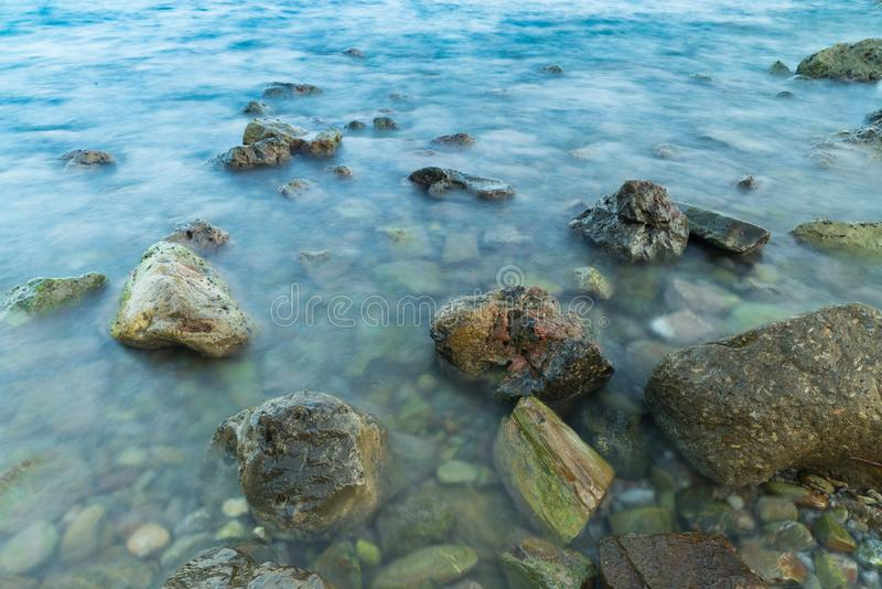 Long exposure seascape water with motion blur stock photos