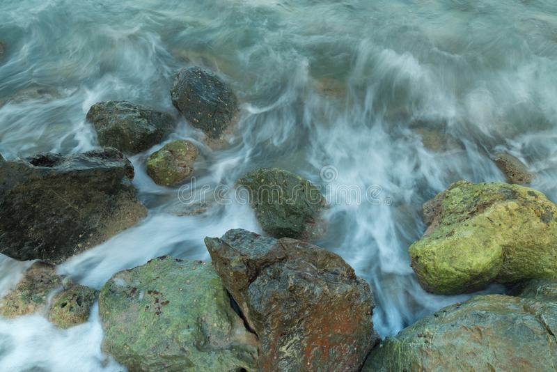 Long exposure seashore using tripod royalty free stock images