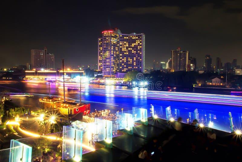 Long exposure of Ship/Boat sailing in Chao Phraya River, Bangkok, Thailand. Lighting from transportation. Beautiful of light trail. Long exposure of Ship or Boat royalty free stock photos