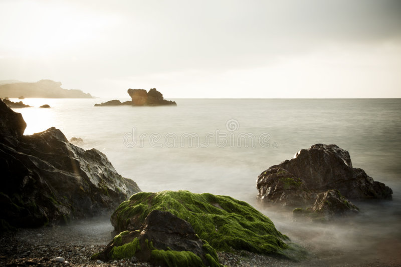 Download Long exposure on shore stock photo. Image of beach, moss - 8552542