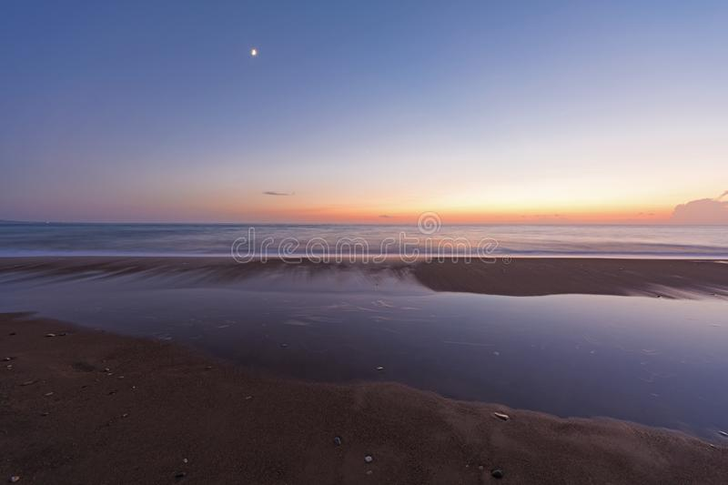 Long exposure shot of a beach at Peloponnese, Greece. Long exposure shot of a beach at Kyparissia. Western Peloponnese, Greece stock images