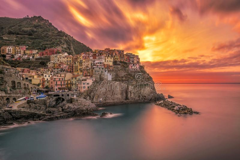Italy cinque terre manorola by sunrise long exposure royalty free stock image