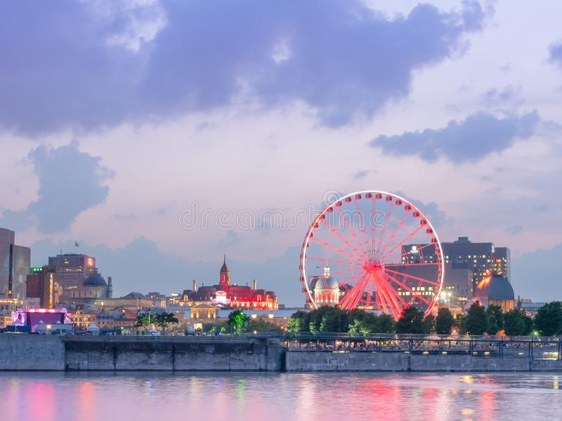 Long exposure shot - Night City View on the old Port of Montreal, Quebec, Canada royalty free stock image
