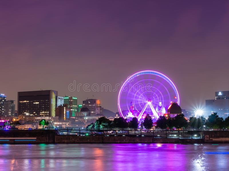 Long exposure shot - Night City View on the old Port of Montreal, Quebec, Canada stock photos