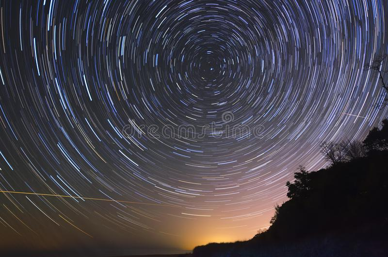 Star Trails During a Meteor Shower royalty free stock photography