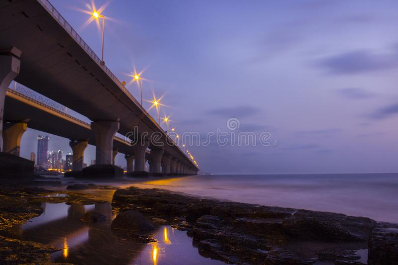 Long exposure shot of sea link in Mumbai India. Unique perspective of bandra worli sea link. Room for text. Copy space. royalty free stock image