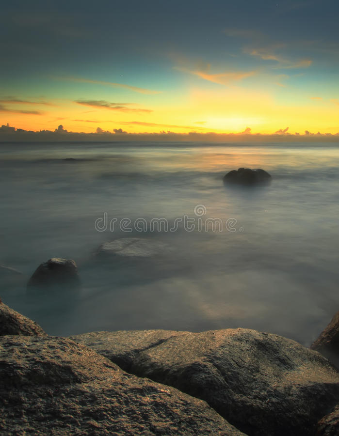 Long Exposure Shot Seascape in the morning stock photos