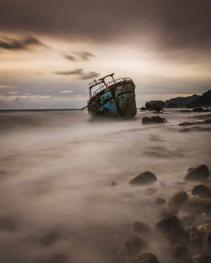 Long exposure shot of a shipwreck in Corfu Greece. .Amazing Greece royalty free stock photography