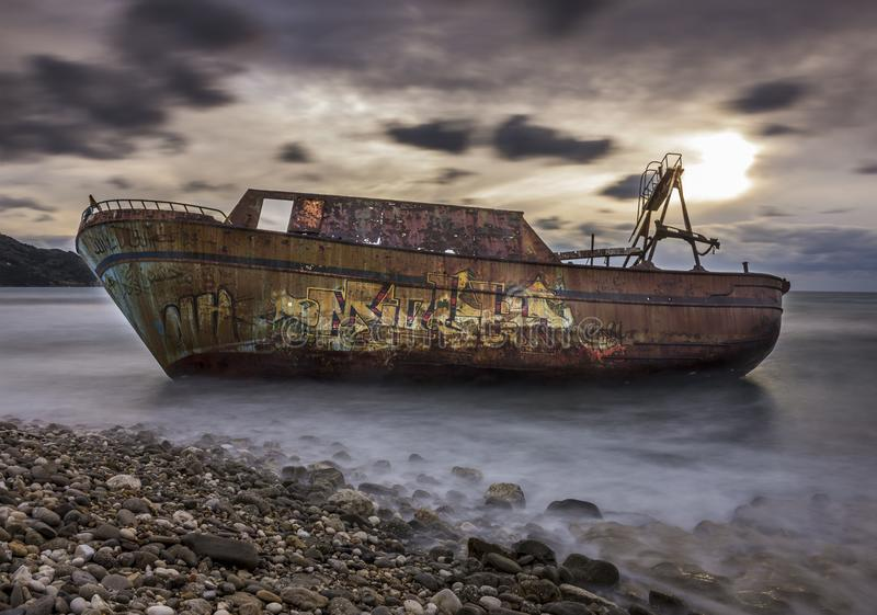 Long exposure shot of a shipwreck in Corfu Greece. .Amazing Greece stock images