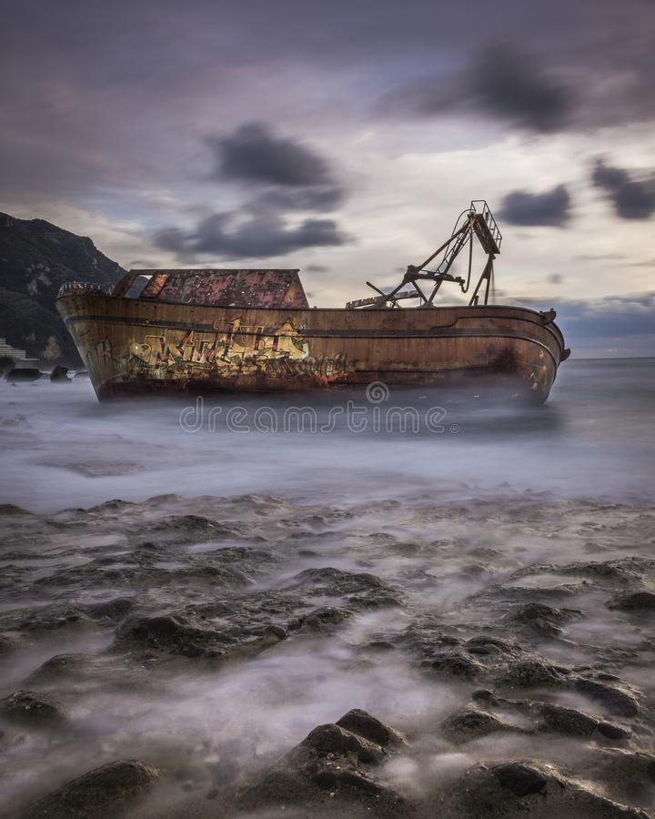 Long exposure shot of a shipwreck in Corfu Greece. .Amazing Greece stock image