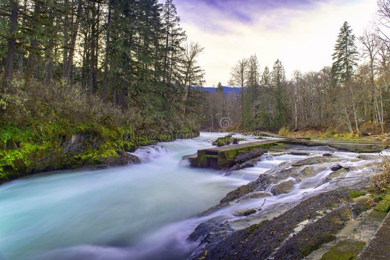 Long exposure shot of Stamp River Falls in Port Alberni, Canada stock images
