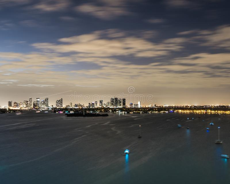 Miami Cityscape Lit Up at Night royalty free stock photos