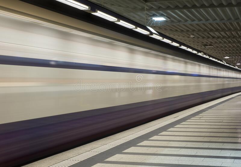 Long exposure shot of a train at rail station in Zurich, Switzerland. A long exposure shot of a train at rail station in Zurich, Switzerland stock photos