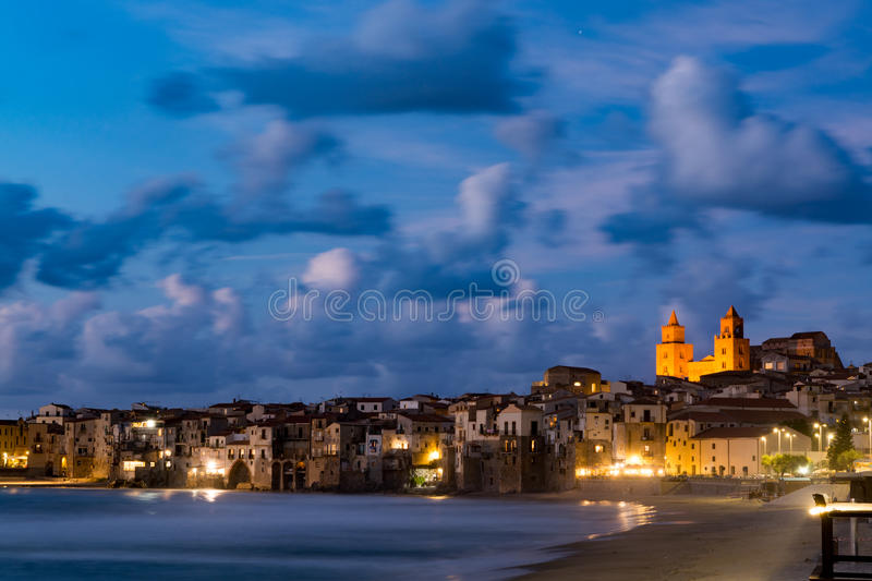 Long exposure, Sicily, small town of Cefalu, Sicily, south Italy. Long exposure, and vacation pearl of Sicily, small town of Cefalu at night, Sicily, south Italy royalty free stock image