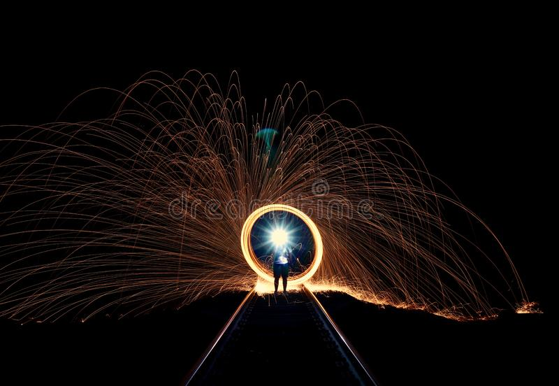 Long exposure of sparks stock photos