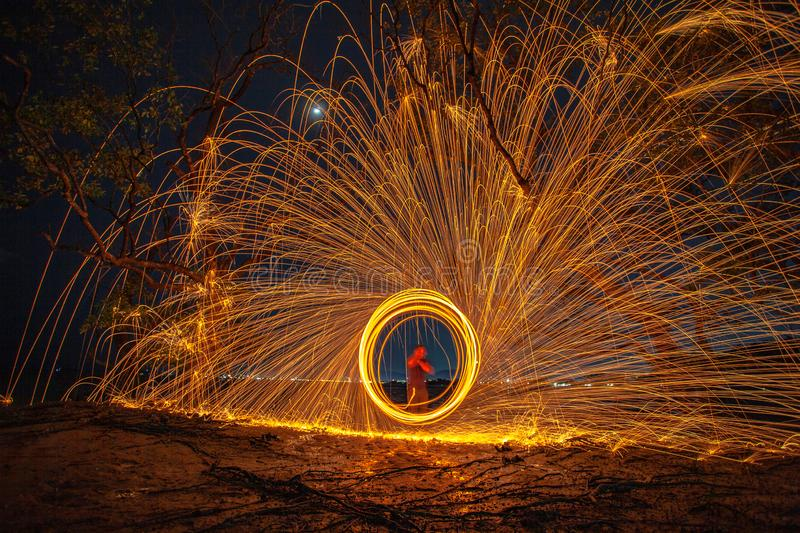 long exposure speed motion abstract of steel wool at twight royalty free stock photo