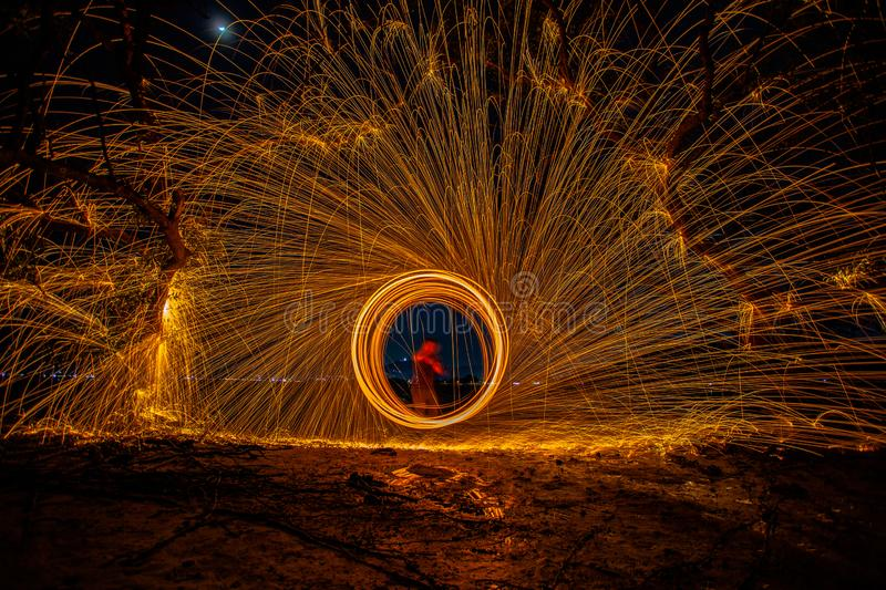 long exposure speed motion abstract of steel wool at twight royalty free stock image