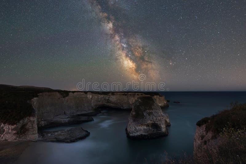 Milky Way Galaxy over Shark Fin Cove. Long exposure of the stars and milky way galaxy over Shark Fin Cove in California stock photos
