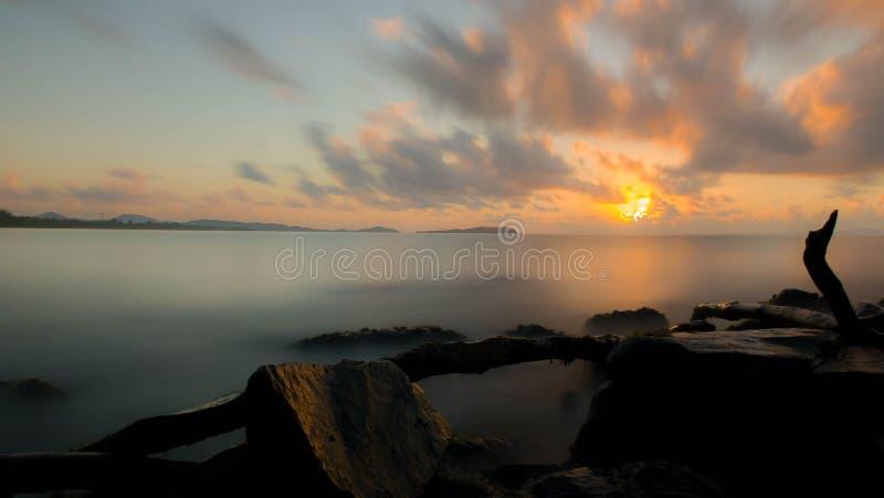 Long exposure at sunrise stock photos