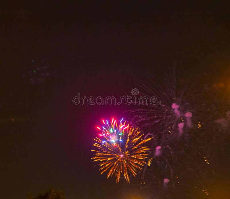 Fireworks showing as bursting star. royalty free stock images