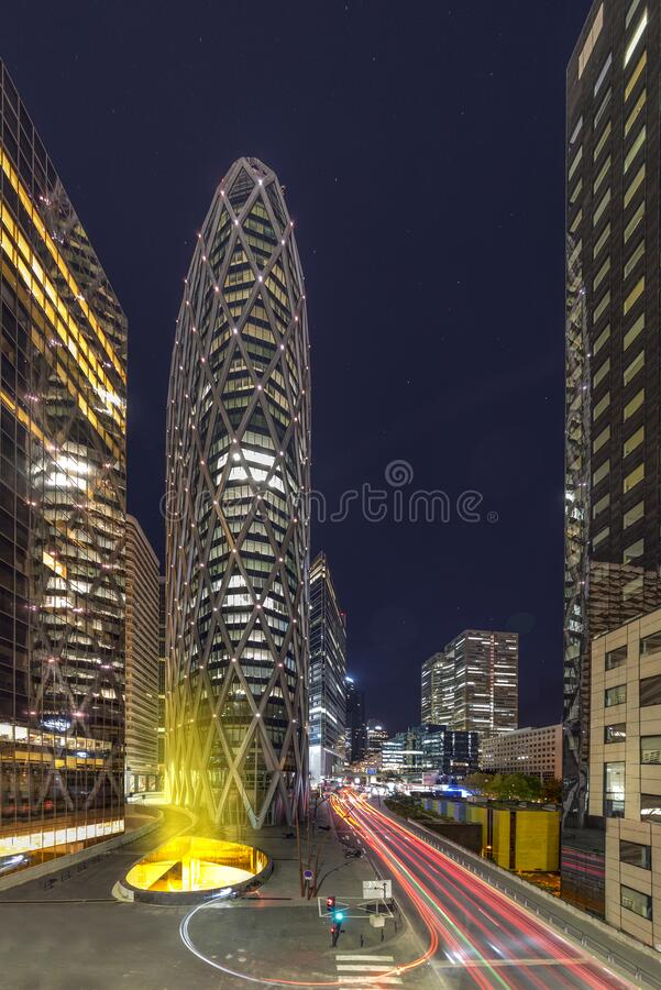 Paris La Défense by night stock image