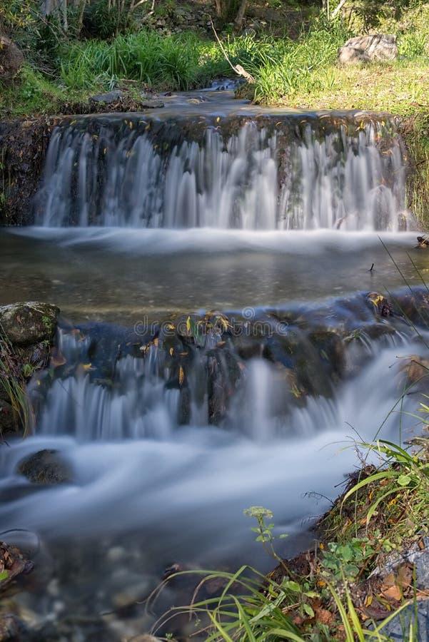 Long exposure, two level waterfall, Canillas De Albaida, Spain. royalty free stock image