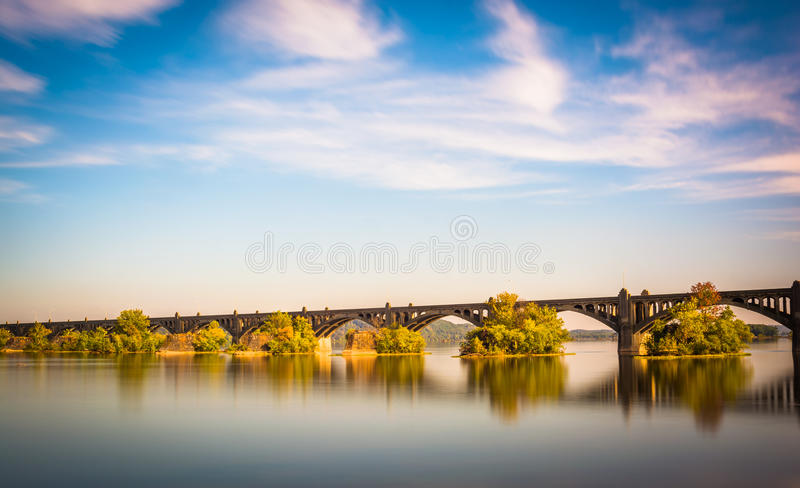 Long exposure of the Veterans Memorial Bridge over the Susquehanna River, in Wrightsville, Pennsylvania. stock image