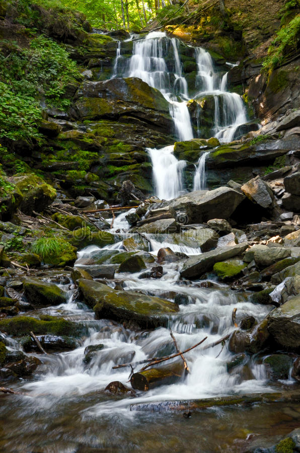 Long exposure of the waterfall in Carpathians, Ukraine royalty free stock photography