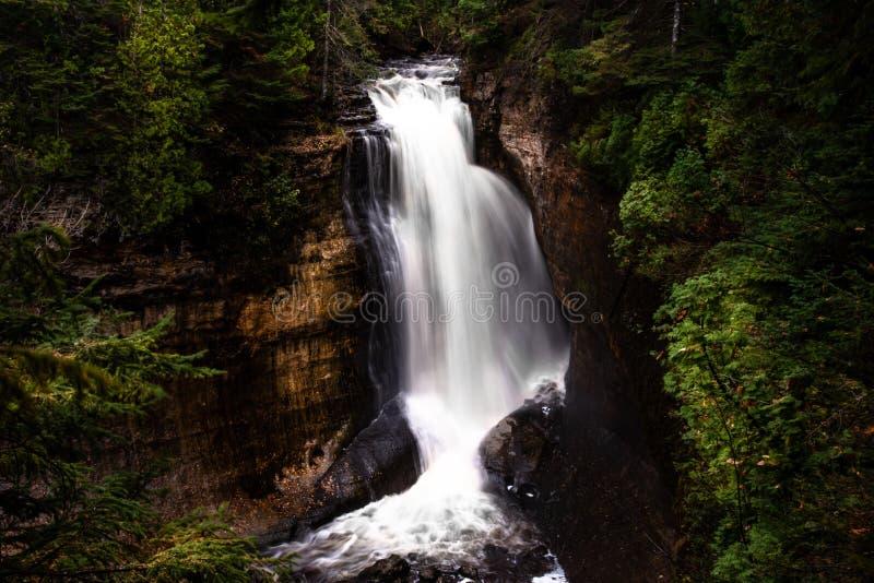 Long exposure waterfall in Munising Michigan royalty free stock photography