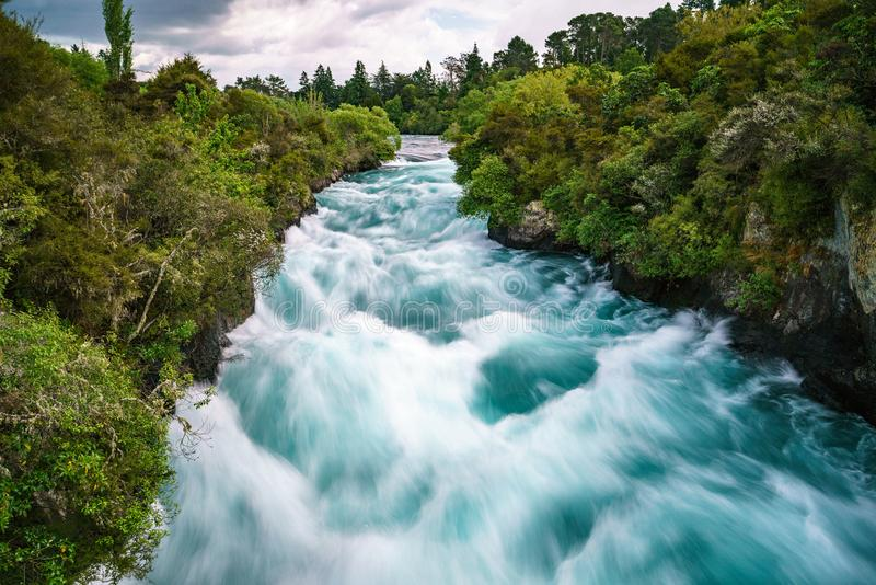 Wild mighty waterfalls,huka falls,new zealand 2. Long exposure of wild mighty waterfalls,huka falls,new zealand stock photo