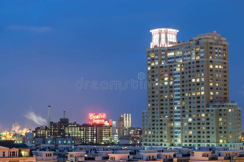 Long Exposures During Night time on Federal Hill in Baltimore, M. Aryland stock photos