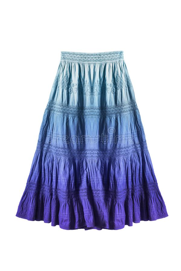 Blue skirt isolated. Long flared ethnic blue ombre skirt on white background stock photo