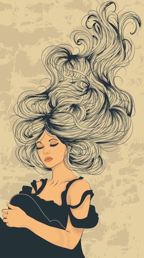 Long flowing hair royalty free illustration