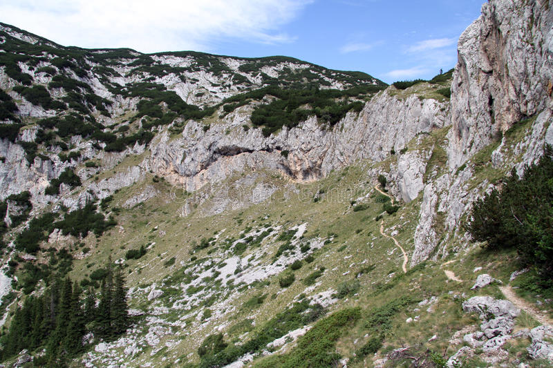 Long footpath. And mountain in Durmitor, Montenegro royalty free stock photos