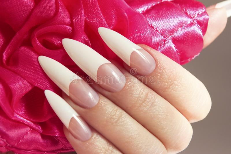 Long French manicure stock image. Image of body, design - 110626593