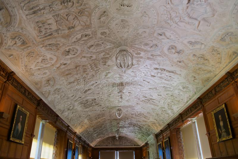 The Long Gallery 17th century ceiling Lanhydrock House. The finest house in Cornwall, superbly set in wooded parkland of 450 acres and encircled by a garden of stock images