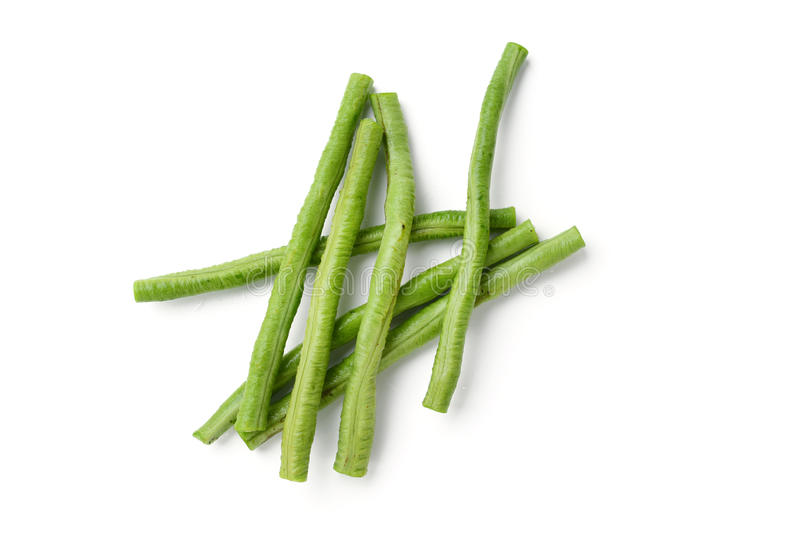 Long green beans. On white background stock image
