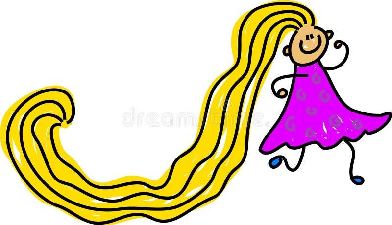 Really long hair royalty free illustration