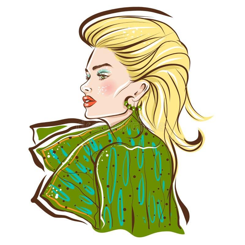 Long hair beautiful blond model in luxury dress stock illustration