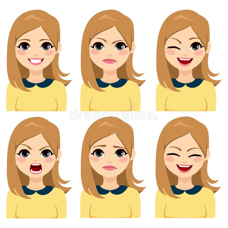 Long Hair Blonde Woman Expressions vector illustration