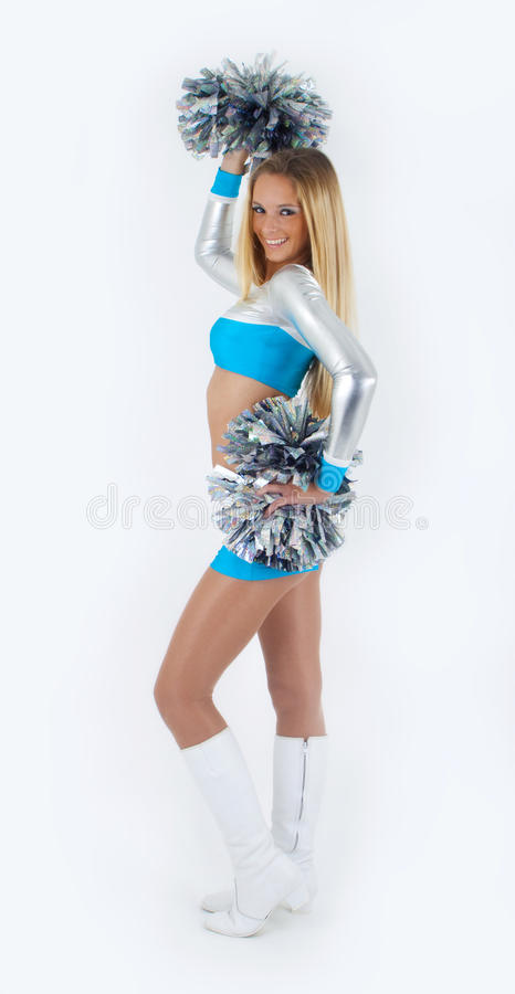 Download Long-hair Cheerleader With Pom-poms. Stock Photo - Image of silhouette, smile: 19010956
